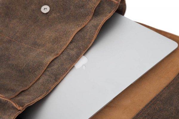 Skórzana torba męska na ramię Solome Blackrock brązowa vintage detal