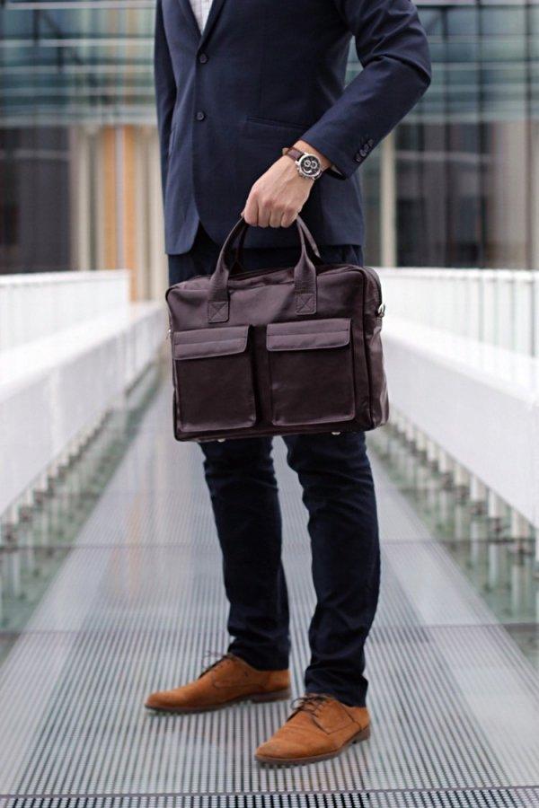Skórzana torba na laptopa Solome Windsor brązowa look