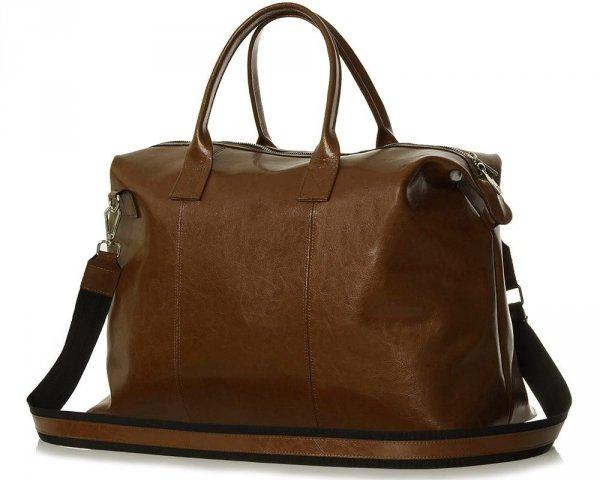 Skórzana torba weekendowa podróżna Solome Premier brązowa skos