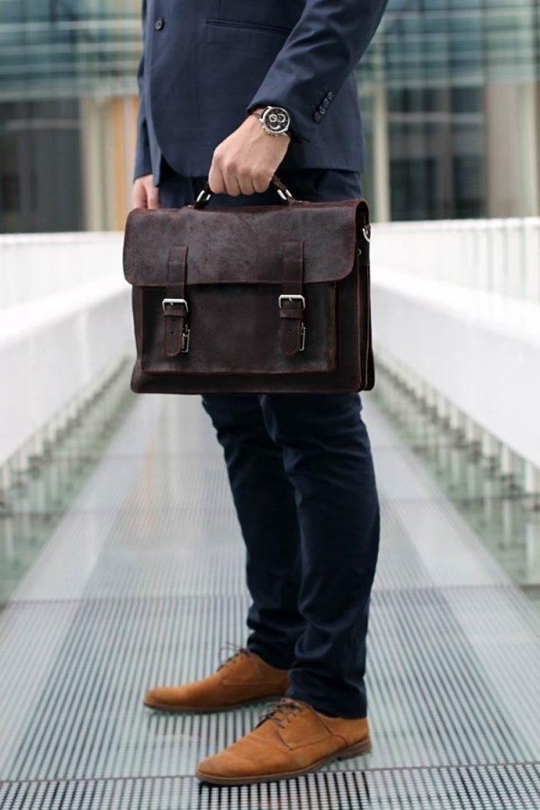 Skórzana męska torba na ramię Solome Lago 01 brązowa vintage detal