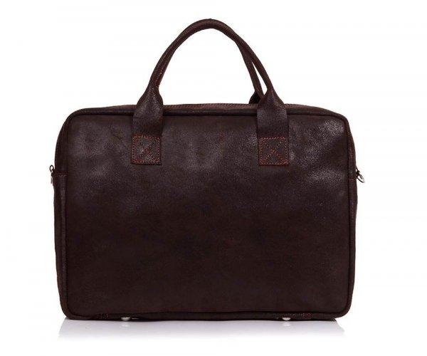 Skórzana torba na laptopa Solome horse ciemno brązowa tył