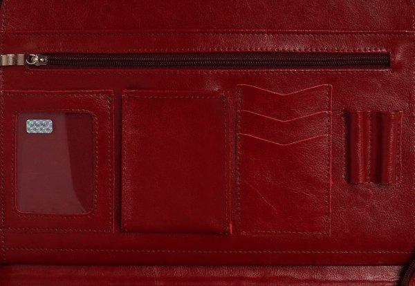 Skórzany biwuar teczka czerwona Solome Lw01 detal 1