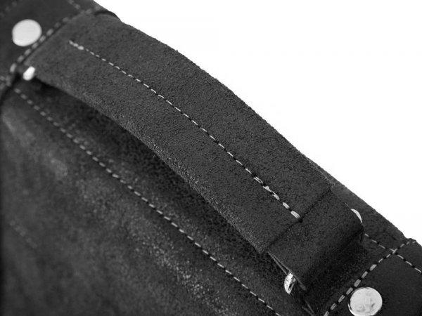 Skórzana męska torba na ramię Solome Lago 01 szara detal