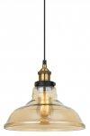 SZKLANA LAMPA WISZĄCA LOFT ITALUX HUBERT MDM-2381/1 GD+AMB BURSZTYNOWA