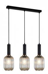 NOWOCZESNA SZKLANA LAMPA WISZĄCA ITALUX ANTIOLA PND-5588-3M-BK+AMB DESIGNERSKA LOFT