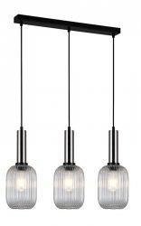 NOWOCZESNA SZKLANA LAMPA WISZĄCA ITALUX ANTIOLA PND-5588-3M-SC+CL DESIGNERSKA LOFT