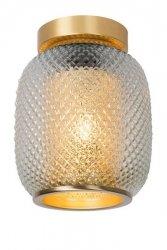ZŁOTA LAMPA SUFITOWA W STYLU LOFTOWYM PLAFON SUFITOWY SZKLANY KLOSZ