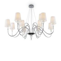 STYLOWY BIAŁY ŻYRANDOL Z ABAZURKAMI MAYTONI FLORERO MOD078PL-12CH LAMPA WISZĄCA ABAŻUROWA DO SALONU GLAMOUR