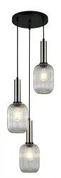 NOWOCZESNA SZKLANA LAMPA WISZĄCA ITALUX ANTIOLA PND-5588-3AM-SC+CL DESIGNERSKA LOFT