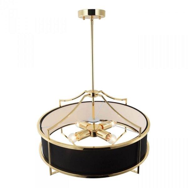 ZŁOTA LAMPA WISZĄCA Z CZARNYM ABAŻUREM GLAMOUR ORLICKI DESIGN STESSO GOLD NERO S LAMPA W NOWOJORSKIM STYLU