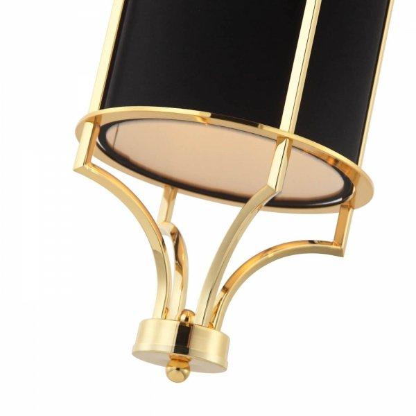 ZŁOTA LAMPA WISZĄCA Z CZARNYM ABAŻUREM GLAMOUR ORLICKI DESIGN LUNGA GOLD NERO W NOWOJORSKIM STYLU
