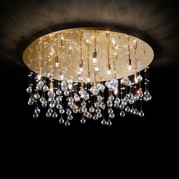 ZŁOTY PLAFON KRYSZTAŁOWY IDEAL LUX  MOONLIGHT PL12 082783 ZŁOTA LAMPA KRYSZTAŁOWA GLAMOUR