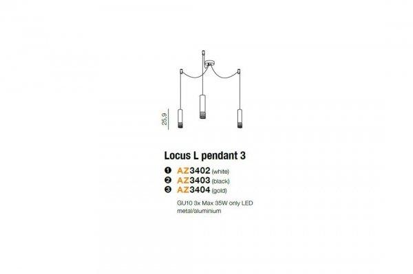 LAMPA WISZĄCA TUBA CZARNA NOWOCZESNA LOCUS L 3 AZ3402