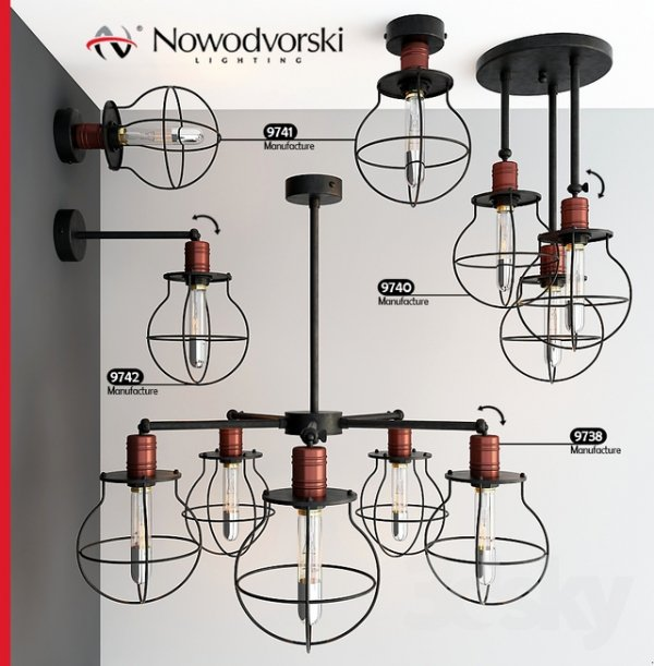 LAMPA WISZĄCA ŻYRANDOL NOWODVORSKI MANUFACTURE 9738 LOFT VINTAGE METALOWA CZARNA