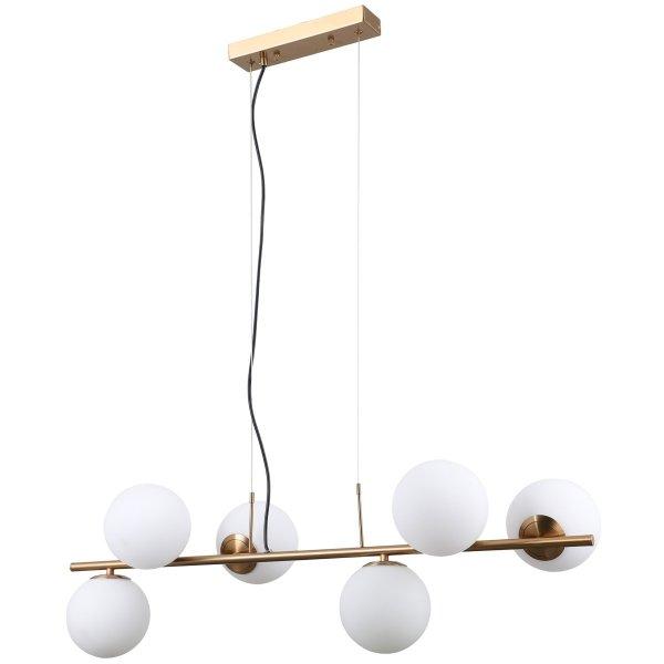 ITALUX RADDI PND-5510-6-HBR ZŁOTA NOWOCZESNA LAMPA WISZĄCA SZKLANE KULE W STYLU LOFTOWYM