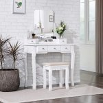 Toaletka kosmetyczna z obracanym lustrem + stołek