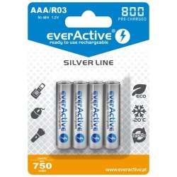 Akumulatorki everActive R03/AAA Ni-MH 800 mAh ready to use - 4 sztuki