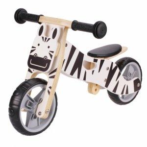 Drewniany rowerek rower trójkołowy 2w1 balansowy - ZEBRA