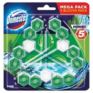 DOMESTOS Power 5 Kostka zapachowa do WC Pine 3x55g