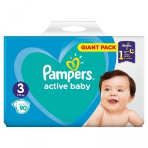 Pampers Active Baby Pieluchy Rozmiar 3, 6-10kg, 90szt