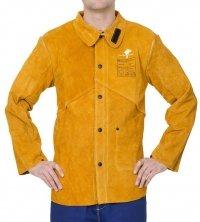 WELDAS-Golden Brown™ skórzana kurtka spawalnicza z dwoiny bydlęcej z plecami z trudnopalnej bawełny 44-2530P/M