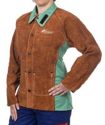 WELDAS-Kurtka spawalnicza dla kobiet z dwoiny bydlęcej z plecami z trudnopalnej bawełny LAVA BROWN ARC QUEEN 44-7300 L/P-AQ