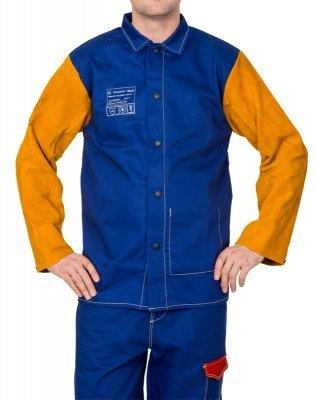 WELDAS-Yellowjacket® niebieska, trudnopalna, bawełniana kurtka spawalnicza z żółtymi, skórzanymi rękawami z dwoiny bydlęcej 33-3060 L