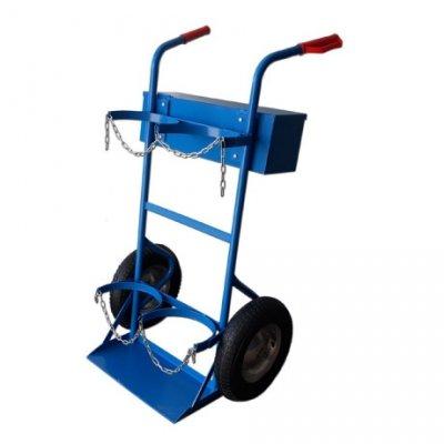 Wózek spawalniczy do butli gazowych - dwubutlowy (koła pełne lub pneumatyczne))