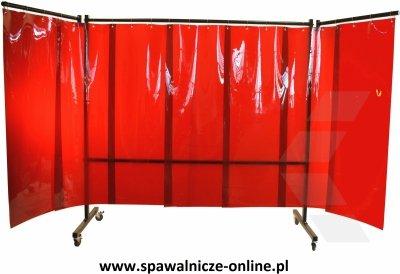 PARAWAN SPAWALNICZY REGULAR Z KURTYNAMI LAMELOWYMI 3600x1900 mm (szer x wys) Z RAMIONAMI