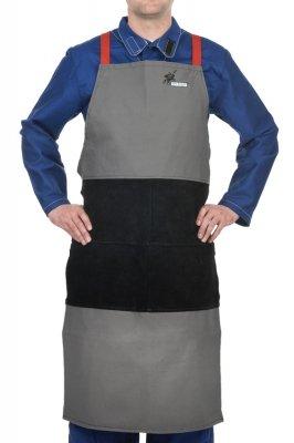 WELDAS-Arc Knight® fartuch spawalniczy, wysokiej odporności trudnopalna bawełna 520 gr./m2 ze wzmocnieniami z czarnej dwoiny bydlęcej 38-4442 (107 cm x 60 cm) dł x szer