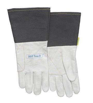 WELDAS-SOFTouch™ rękawica spawalnicza z licowej skóry koziej, mankiet został wykonany z szarego, trudnopalnego materiału 10-1004 XL