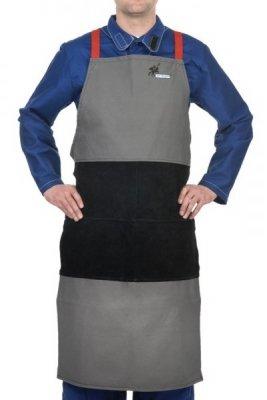 WELDAS-Arc Knight® fartuch spawalniczy, wysokiej odporności trudnopalna bawełna 520 gr./m2 ze wzmocnieniami z czarnej dwoiny bydlęcej 38-4442W (107 cm x 80 cm) dł x szer