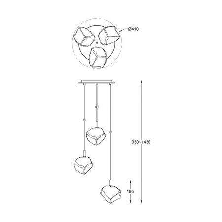 LAMPA WEWNĘTRZNA (WISZĄCA) ZUMA LINE ROCK PENDANT P0488-03D-B5HF Zuma Line