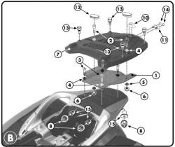 KAPPA stelaż kufra centralnego Honda ST1300 - 02-13