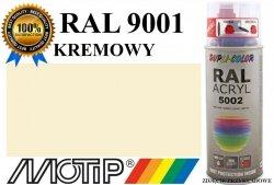 MOTIP lakier farba kremowy połysk 400 ml akrylowy acryl szybkoschnący RAL 9001