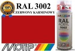 MOTIP lakier farba czerwony karminowy połysk 400 ml akrylowy acryl szybkoschnący RAL 3002