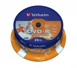 DVD-R 16x 4.7GB 25P CB PRINTABLE 43538