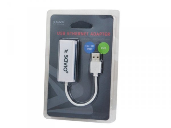 SAVIO CL-24 Adapter USB LAN 2.0 - Fast Ethernet (RJ45), blister