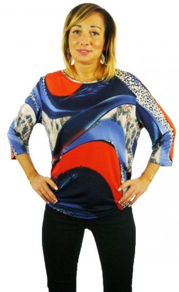 Bluzka kolorowa, rękaw 3/4, Kreator Studio Mody, rozm. 50