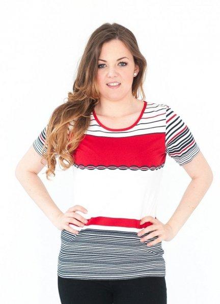 Bluzka w marynarskie paski, t-shirt rozmiar 52