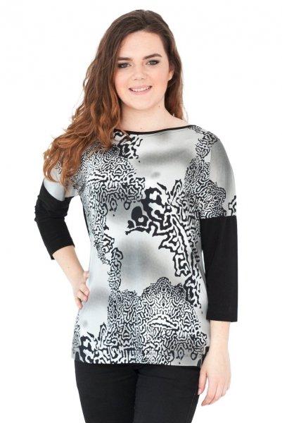 Bluzka, kimono, rękaw 3/4, wzór z przodu, Kreator Studio Mody, rozmiar 42