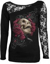 Rose Skull - Lace One Shoulder Spiral