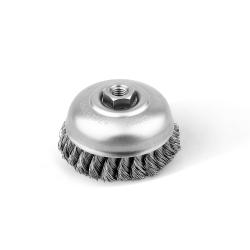 Szczotka doczołowa FI 100 nakrętka M14 splatana stalowa (028-ESI)