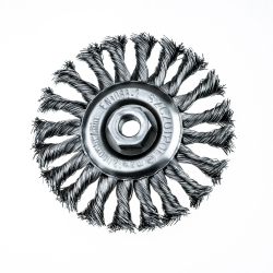 Szczotka tarczowa Ø 120 z nakrętką M14, splatana z drutu stalowego