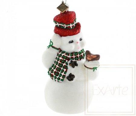 Schneemann mit Vögelchen - 13cm