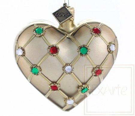 Serce z kryształkami - 7,5cm