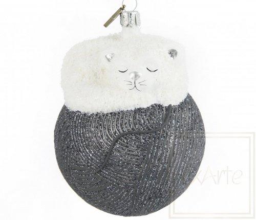 Katze 11cm – Auf grauem Knäuel