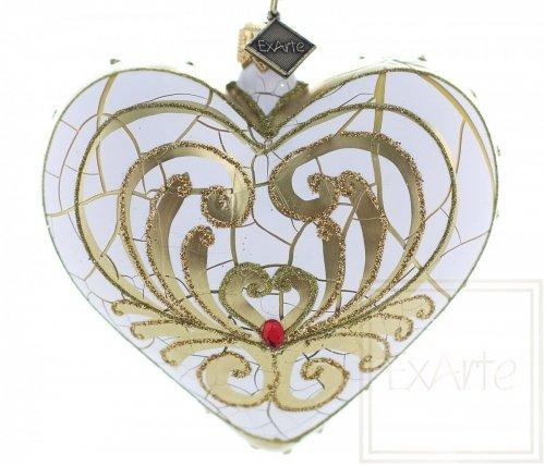 Serce 9,5cm - Złote liście