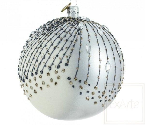 Srebrna świąteczna kula - 12cm, Silbern Weinachstkugeln - 12cm, Silver Christmas bauble - 12cm