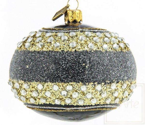 Szklana bombka czarno-złota glamour, Elipsoida 9cm - Diamantbänder